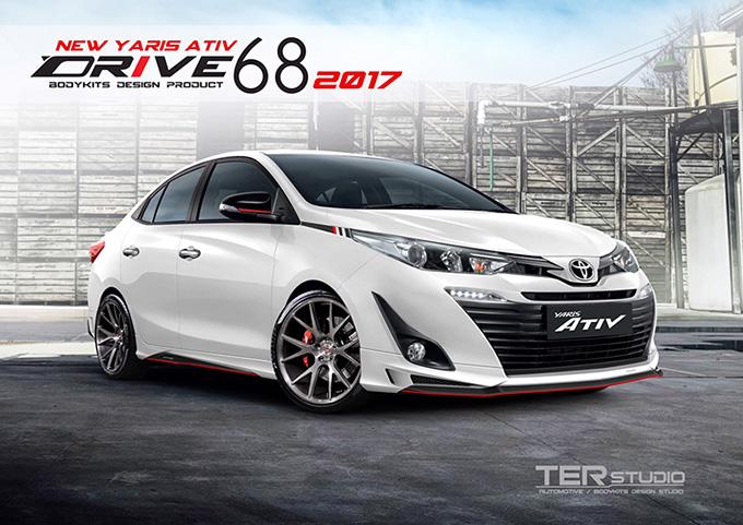 ชุดแต่ง สเกิร์ต สปอยเลอร์ อุปกรณ์แต่งรถ ของแต่งรถ แต่งรถ new yaris ativ 2017 2018 2019 2020 Drive 68 ลำลูกกา รังสิต ปทุมธานี กรุงเทพ สีขาว รถตัวอย่าง รูป 1