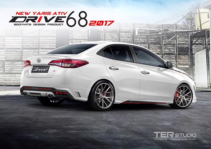 ชุดแต่ง สเกิร์ต สปอยเลอร์ อุปกรณ์แต่งรถ ของแต่งรถ แต่งรถ new yaris ativ 2017 2018 2019 2020 Drive 68 ลำลูกกา รังสิต ปทุมธานี กรุงเทพ สีขาว รถตัวอย่าง รูป 2
