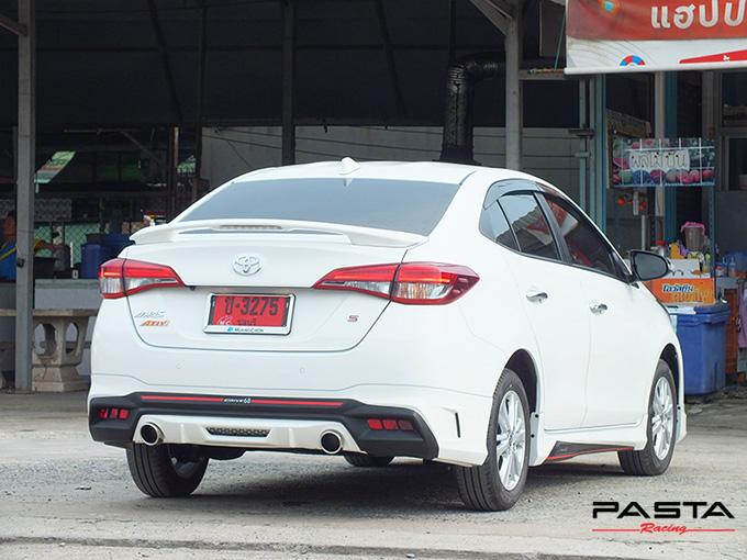 ชุดแต่ง สเกิร์ต สปอยเลอร์ อุปกรณ์แต่งรถ ของแต่งรถ แต่งรถ new yaris ativ 2017 2018 2019 2020 Drive 68 ลำลูกกา รังสิต ปทุมธานี กรุงเทพ สีขาว อภิสิทธิ์ พล รูป 4