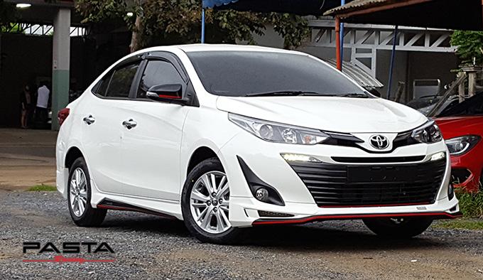 ชุดแต่ง สเกิร์ต สปอยเลอร์ อุปกรณ์แต่งรถ ของแต่งรถ แต่งรถ new yaris ativ 2017 2018 2019 2020 Drive 68 ลำลูกกา รังสิต ปทุมธานี กรุงเทพ สีขาว ติ๊ก รูป 1