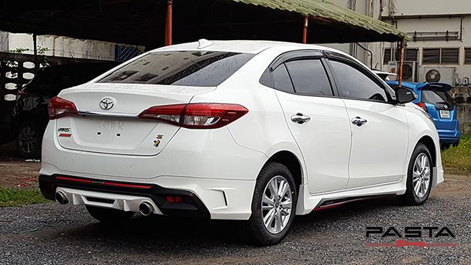ชุดแต่ง สเกิร์ต สปอยเลอร์ อุปกรณ์แต่งรถ ของแต่งรถ แต่งรถ new yaris ativ 2017 2018 2019 2020 Drive 68 ลำลูกกา รังสิต ปทุมธานี กรุงเทพ สีขาว ติ๊ก รูป 3